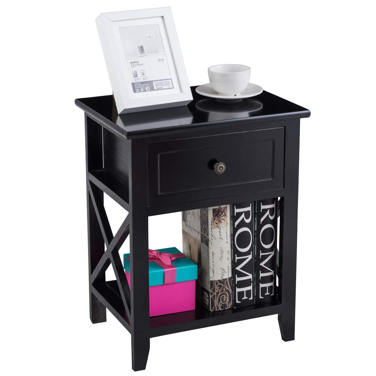 Giantex 2 Pcs Nightstand End Bedside Table Home Bedroom Furniture X-Shape W/Bottom Open Shelf Drawer, Black by Giantex (Image #8)
