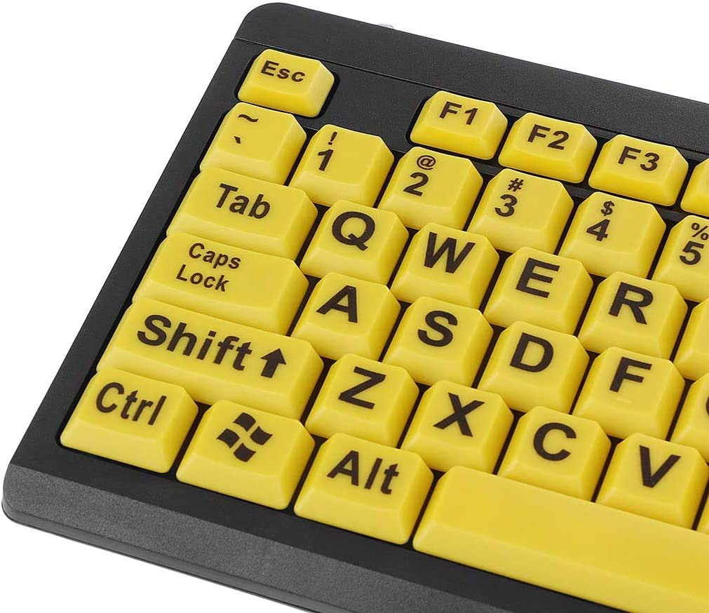 Large Print Computer Keyboard with Yellow Keys and Black Letters Wired USB Keyboards for Visually Impaired Low Vision Individuals,Big Black Letter Print Yellow Button USB Wired Keyboard for Elderly