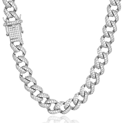 18k Gold Cuban Link Miami Chain Lab Diamond Mans Rose Silver Necklace !