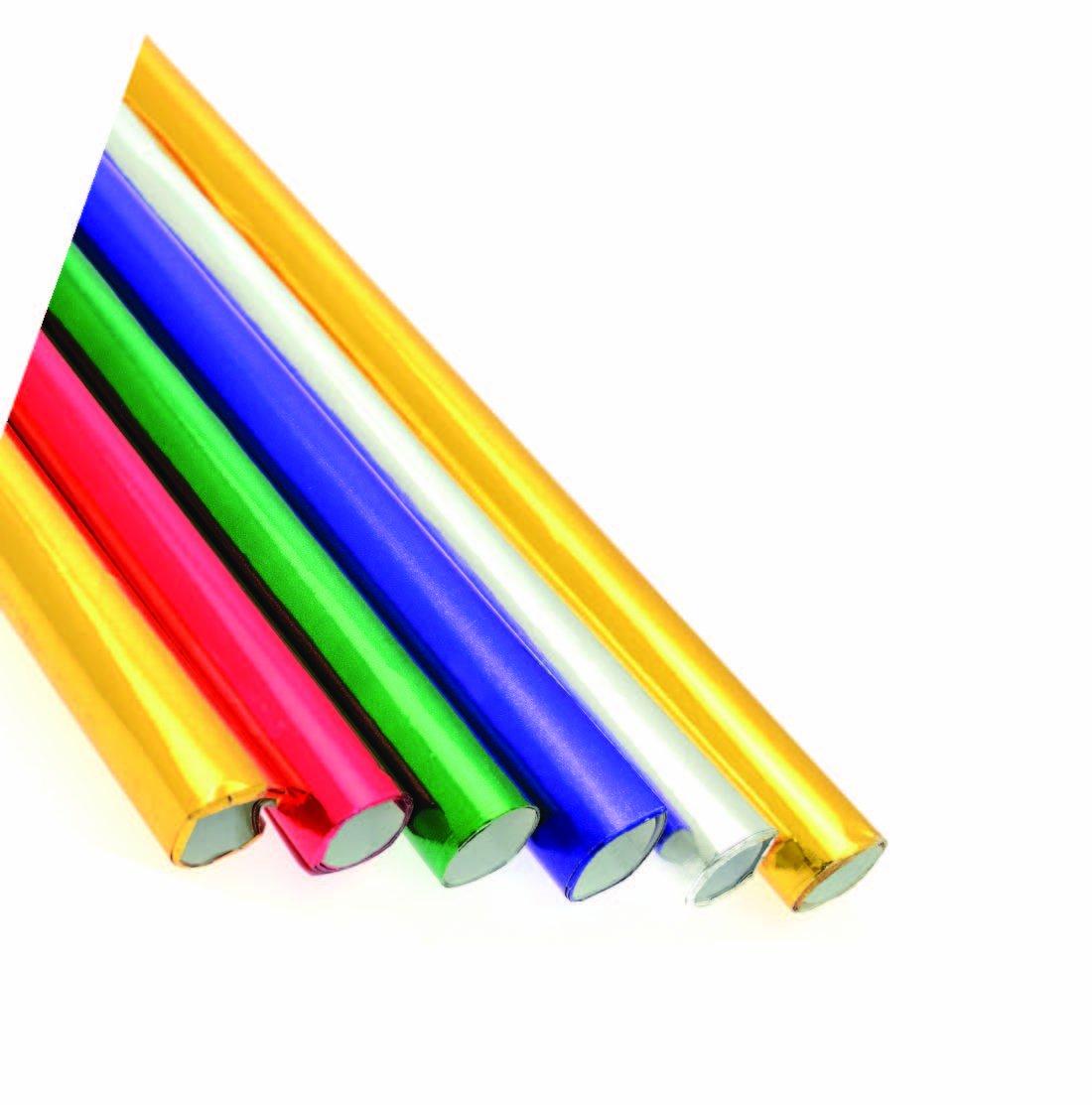 Ci - Confezione da 6 rotoli di carta metallica in alluminio, 50 x 70 cm, colori: Rosso/Verde/Viola/Argento/Oro 98203-CI-101