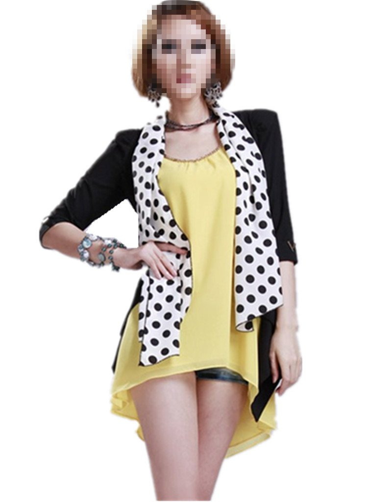 Girls Women Round Dot Design Chiffon Soft Neck Shawl Scarf Wrap Stole (Color 1, 5pcs)