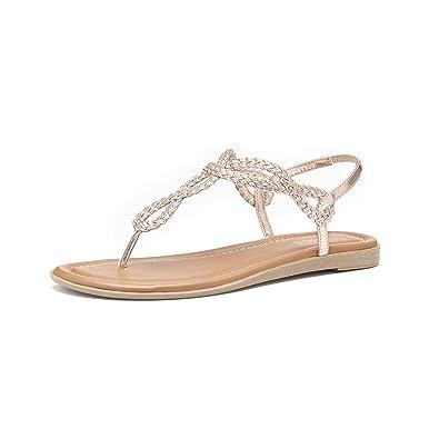 d8c96d6ff5e48 Women's Braided T-Strap Sandals Slingback Flats Roman Gladiator Thongs (6,  Rose)