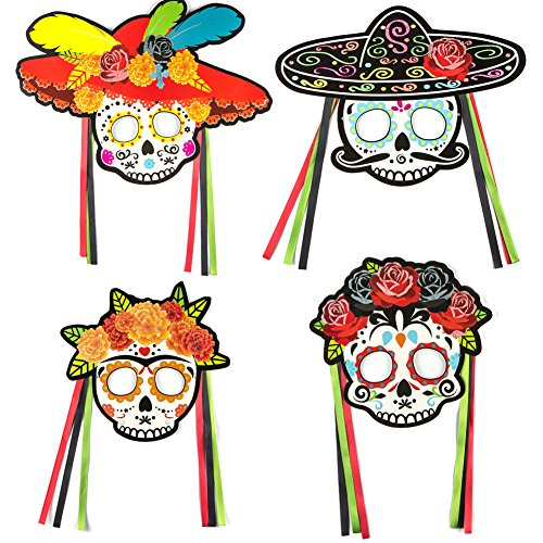 Day of The Dead Masquerade Glitter Masks Sugar Skull DIY Photo Booth Halloween Birthday Mexican Fiesta Decoration Set of 4 Easy Joy ()