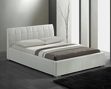 Leder Betten Edles Lederbetten Modell In Weiß 180x200 Bettgestell,  Polsterbetten Mit Lattenrost Inklusive   Günstige
