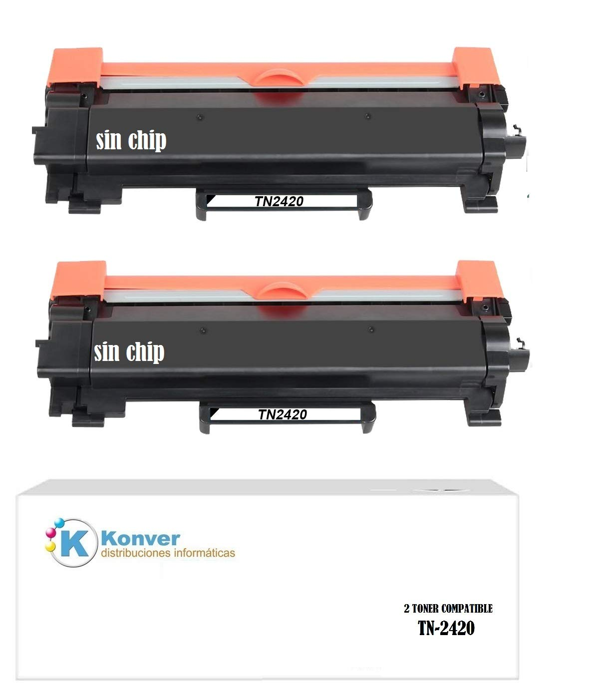 2 Toner Compatible TN-2420, TN2420 para Impresora Brother DCP ...