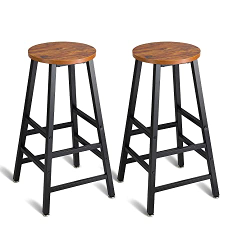 Incredible Mr Ironstone Pub Height Bar Stools Set Of 2 Rustic Brown Bar Stool 27 7 Pub Dining Height Stools Bistro Vintage Table Chairs Indoor Use Only Andrewgaddart Wooden Chair Designs For Living Room Andrewgaddartcom