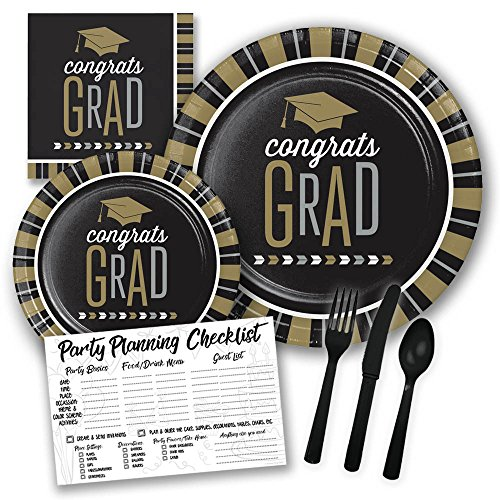 Black and Gold Congrats Grad Graduation Themed Party Supply Pack Bundle - Serves 8 Guests, 2019 Graduation Party -