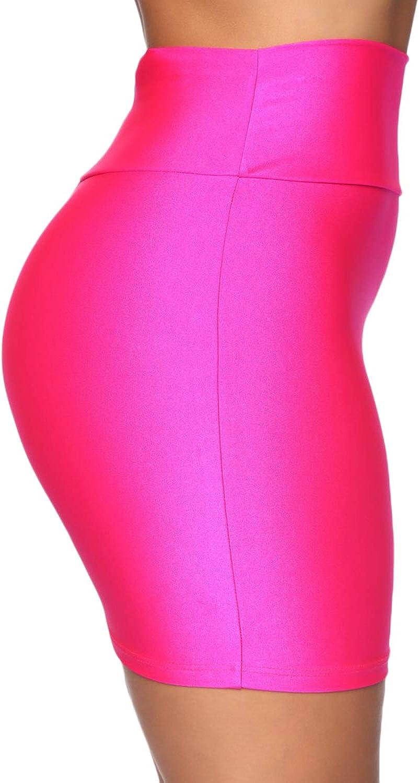 wsevypo Womens Stretch Shiny Bodycon Tube Pencil Mini Skirt High Waist Party Short Skirt