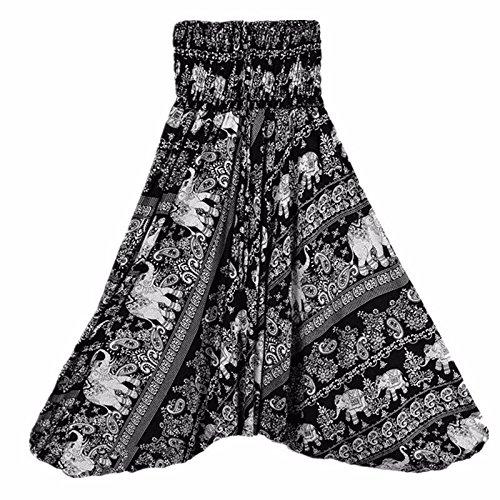 Langmotai Yogahosen meine Damen Bequeme Yoga Strand Baggy Gypsy Frauen Pluderhosen Hose Indian Summer Lose Yoga Hose Eine Größe, Ha 0012803, Eine Größe