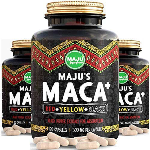 Strong Organic Maca Capsules, Black, Yellow & Red Root w/ Black Pepper Extract for Absorption, Roots Grown in Peru…