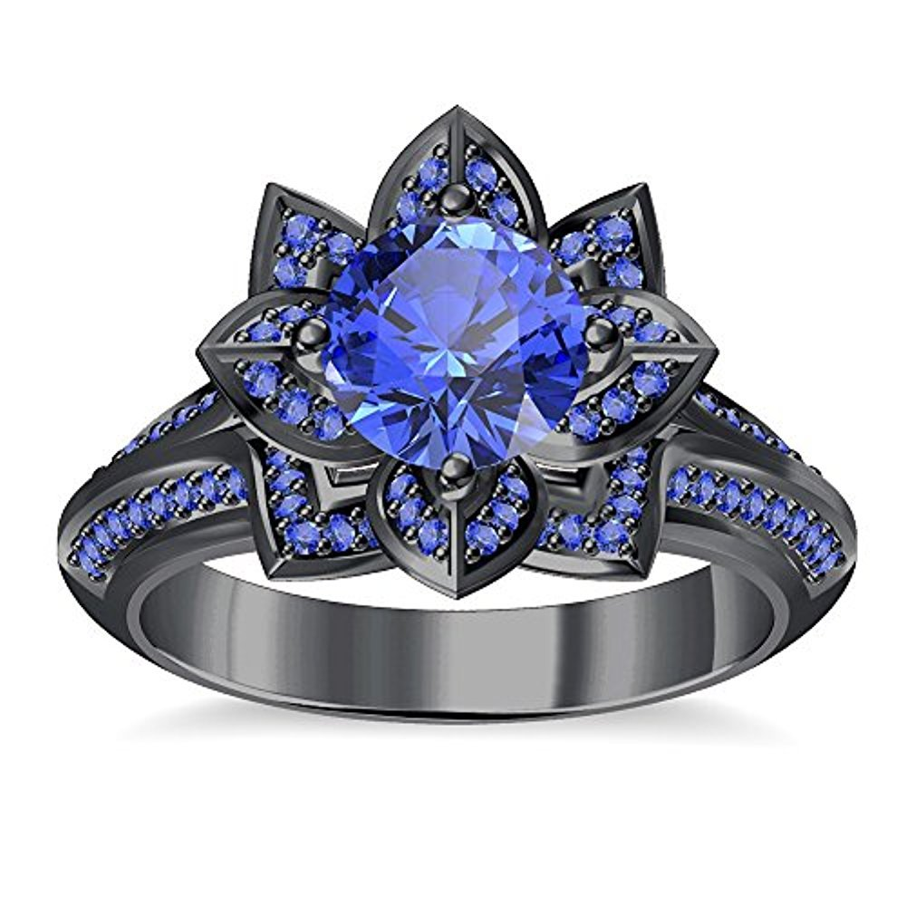 tusakha Round Cut Created Blue Sapphire Engagement Wedding Lotus Flower Ring in 14K Black Gold Plated