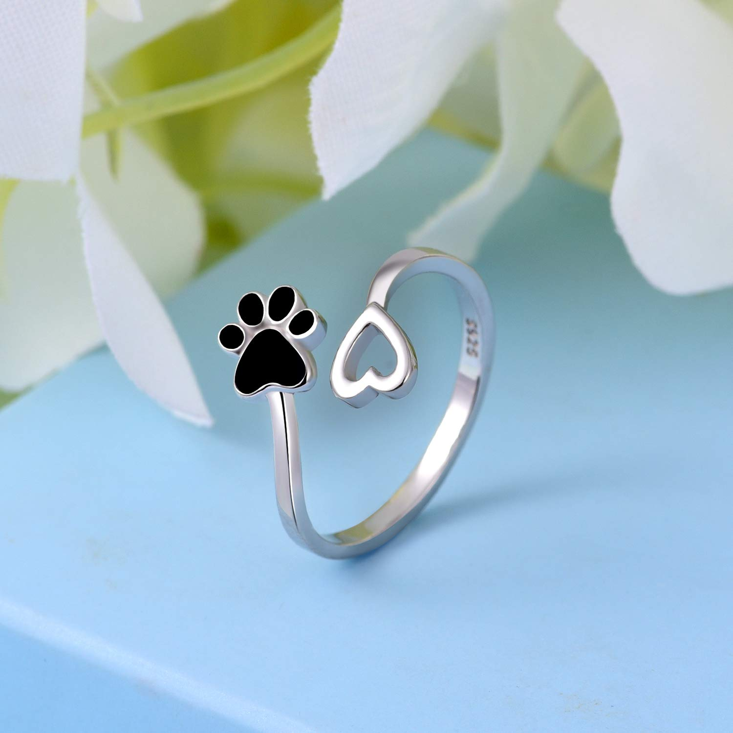ACJFA 925 Sterling Silver Paw Print Love Heart Ring Adjustable Wrap Open Rings Jewelry for Pet Dog Cat by ACJFA (Image #4)