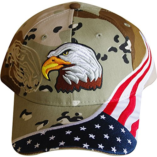 Red Earth Naturals American Flag Hat - USA Eagle Baseball Cap with 100,000 Embroidery Stitches (Camo), Great Gift for Dad