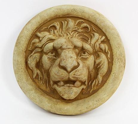 Lion Medallion Concrete Wall Plaque