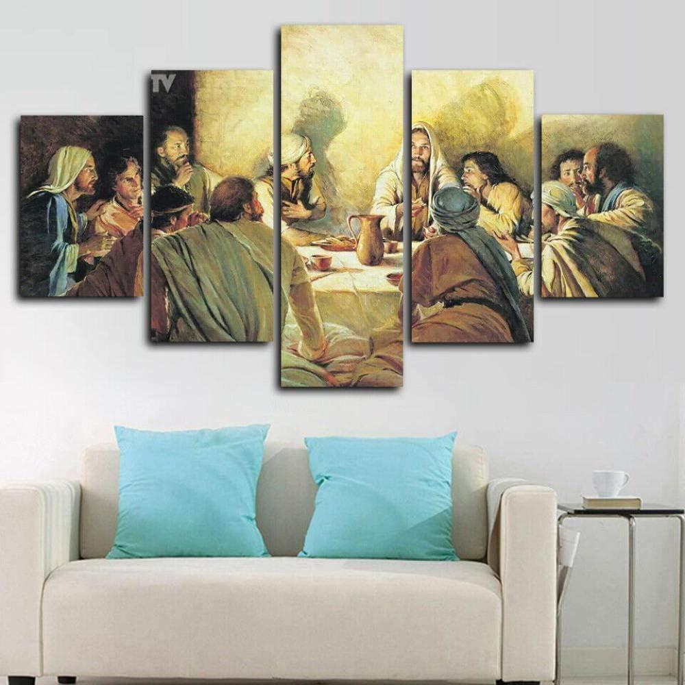 Jesus Disciples Last Supper Painting Canvas Wall Art Home Decor 5 Piece-10055cm
