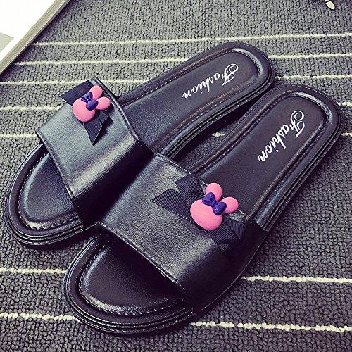 Home gruesa baño antideslizante Zapatillas DogHaccd Home desgaste tendencia zapatillas baño 41 Negro40 mujer exterior zapatillas interiores de verano Y5x88BZn