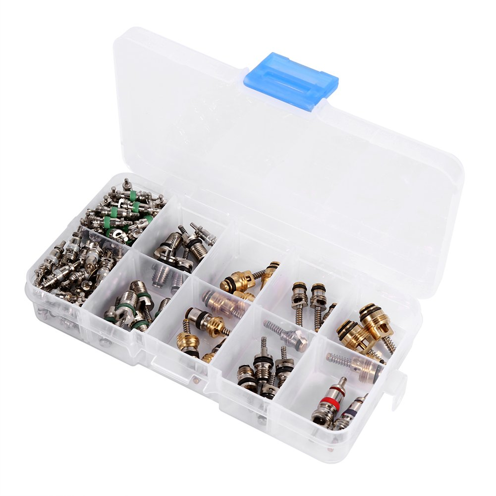 Qiilu 102pcs Assortment A/C R134a/R12 Refrigeration Tire Valve Stem Cores Tool Kit