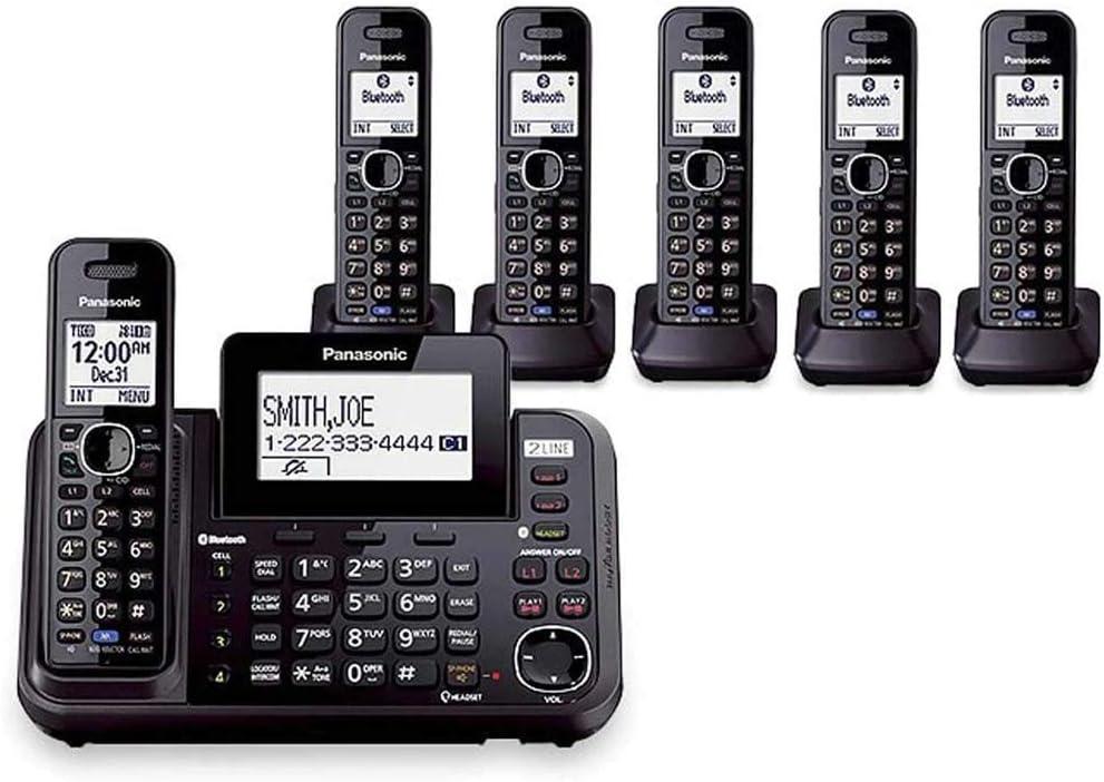 Panasonic kx-tg9542b + Cuatro kx-tga950b, 6-handset inalámbrico Sistema (2 línea) DECT 6.0 1,9 GHz: Amazon.es: Oficina y papelería