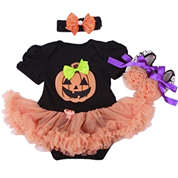 Girls' Clothing Newborn Baby Girl Halloween Clothes Pumpkin Short Sleeve Romper Bodysuit+tulle Tutu Skirt Headband 3pcs Party Casual Outfits Set Selling Well All Over The World