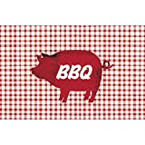 Paperproducts Design 42000 Placemat Set Featuring Popular BBQ Pig Design, 17 x 11″, Red