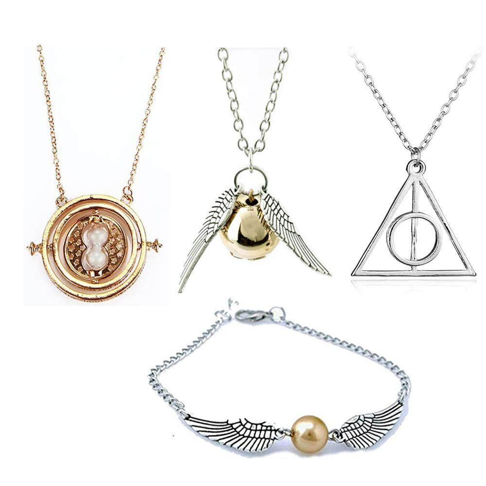 OPENDGO Harry Potter Necklace Set Time Turner Deathly Hallows Golden Snitch for Harry Potter Fans Gifts Collection Magical Cosplay Costume Jewelry Gift