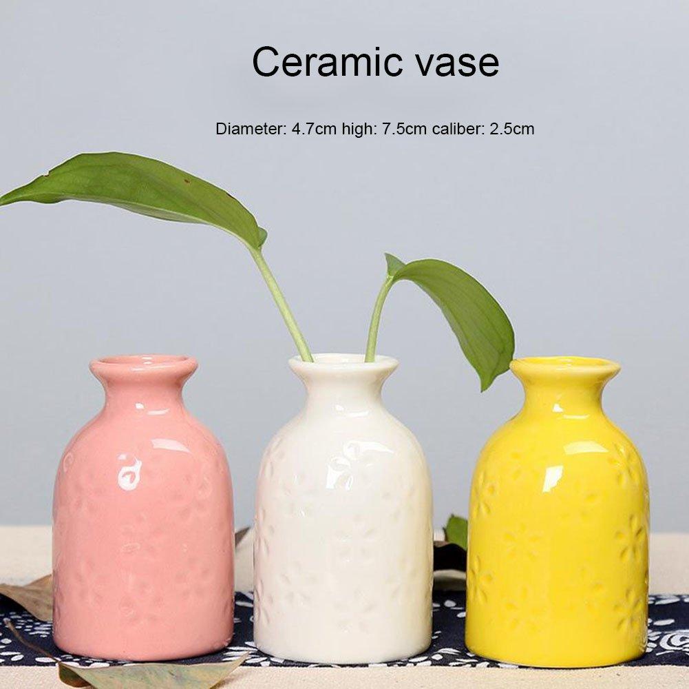 Da.Wa Hard Ceramics Vase Hydroponic Decorative Flower Vase Home Decoration Vase (Pink)
