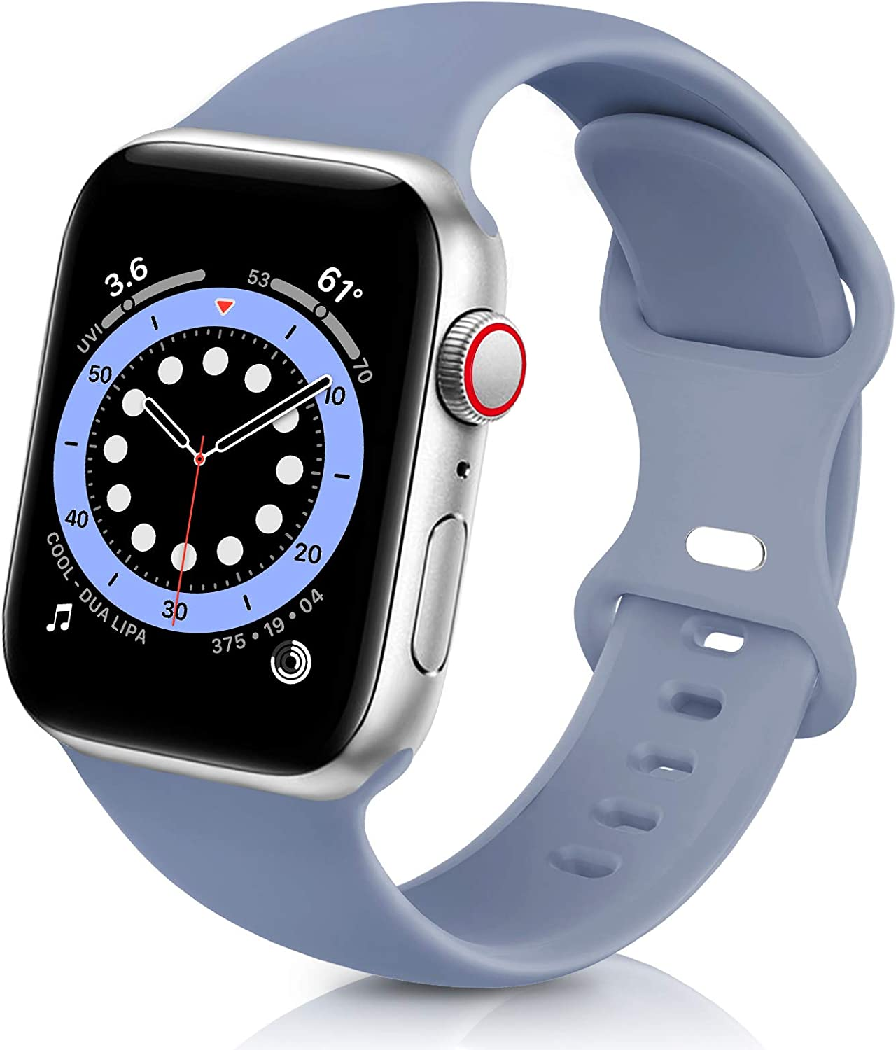 ZALAVER Bands Compatible with Apple Watch Band 38mm 40mm 42mm 44mm, Soft Silicone Sport Replacement Band Compatible with iWatch Series 6 5 4 3 2 1 Women Men Lavender Grey 38mm/40mm S/M
