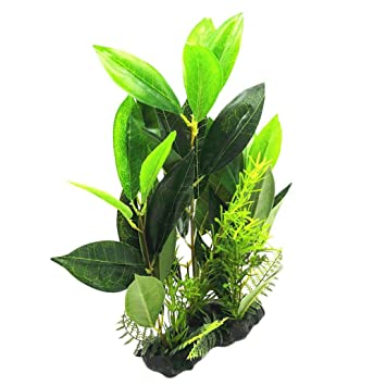 kangql Adorno Artificial Árbol de Coco Planta Acuario Pecera Decoración Falso Césped Verde