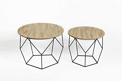 Table Basse Gigogne Bois.Lifa Living Table Gigogne Bois Et Metal Ronde Table Basse Design Bois En Lot De 2 Petite Table Basse Gigogne Scandinave Tables D Appoint Pour