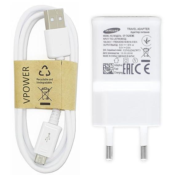 Samsung Original Ladegerät Schnellladegerät EP-TA20EWE Farbe Weiß inkl. VPOWER Micro USB Schnellladekabel Galaxy S5 Mini S6 S