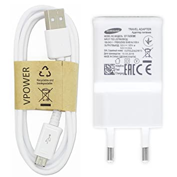 Samsung – Cargador Original Cargador rápido ep-ta20ewe Color Blanco Incluye Vpower Micro USB Cable de Carga Cable de Carga rápida Galaxy S5 Mini S6 S7 ...