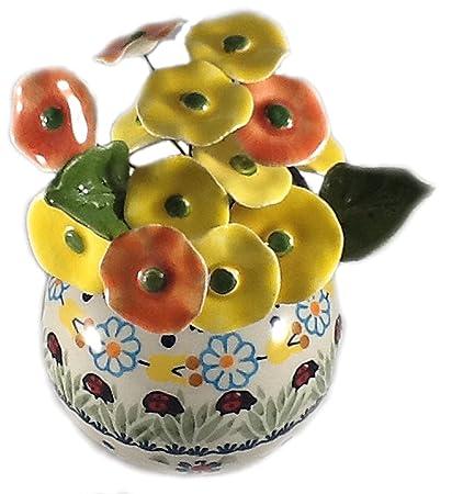 Amazon Polish Pottery Flower Vase Ladybug With Flowers Leaves