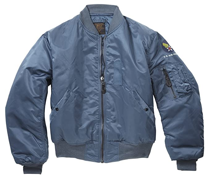 ab78cb56 Original US Vintage MA1 Flight Bomber Jacket Blue: Amazon.co.uk ...