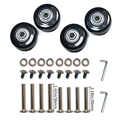 YongXuan 4 Wheels Wear-Resistant Mute Luggage Suitcase Replacement Wheels Rubber Swivel Caster Wheels Repair Kits (45mm × 18mm) : Sports & Outdoors
