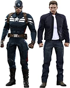 "[Movie Masterpiece ""Captain America / Winter Soldier"" 1/6 Scale Figures Captain America (Stealth Suit Version) & amp; Steve Rogers Set of 2 (Secondary shipments)"