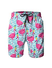 Flamingos And Pineapples Hunting Surfing Board Floral Designer Beach Board Shorts