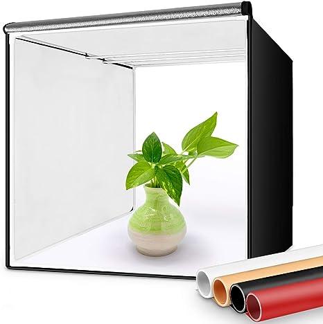 FOSITAN Caja de Luz 40x40cm Caja de Fotografía Estudio, Fotográfico Portátil Fondos (Blanca/Negra/Naranja/Rojo)+ 2 Tiras de LED 5500K+ Bolsa de Transporte: Amazon.es: Electrónica