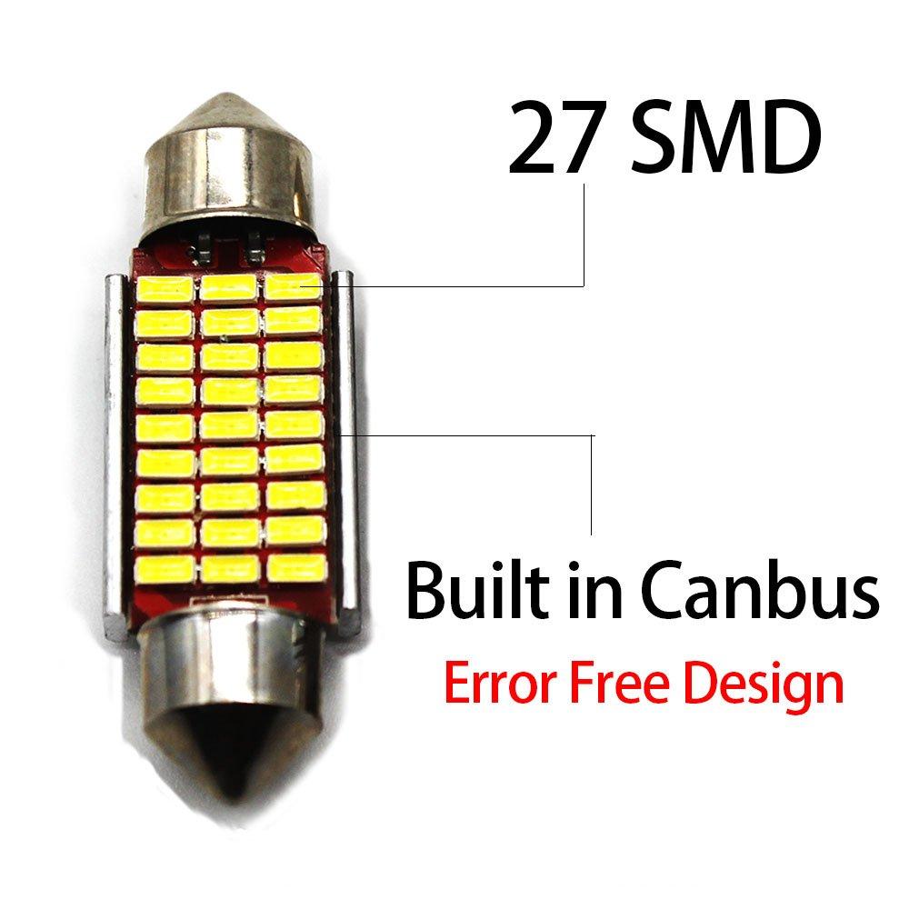 Biqing LED Festoon Bulbs 42mm Canbus Error Free White E3175 DE3021 DE3022 LED Car Interior Lights Bulbs 12v 5050 for Vanity Mirror Dome License Plate Light