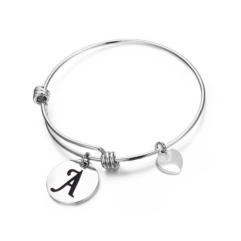 3256518f337 Amazon.com  MAOFAED Initial Bracelet Letter Bracelet Personalized Jewelry  Hand Stamped Jewelry(A-2)  Jewelry