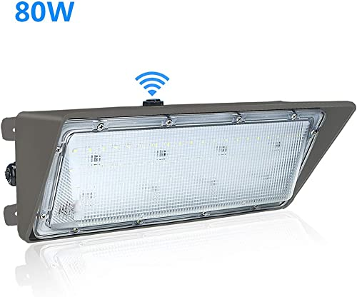 80W LED Wall Pack Light with Dusk to Dawn Photocell,5500K Daylight White,IP65 Waterproof 80W