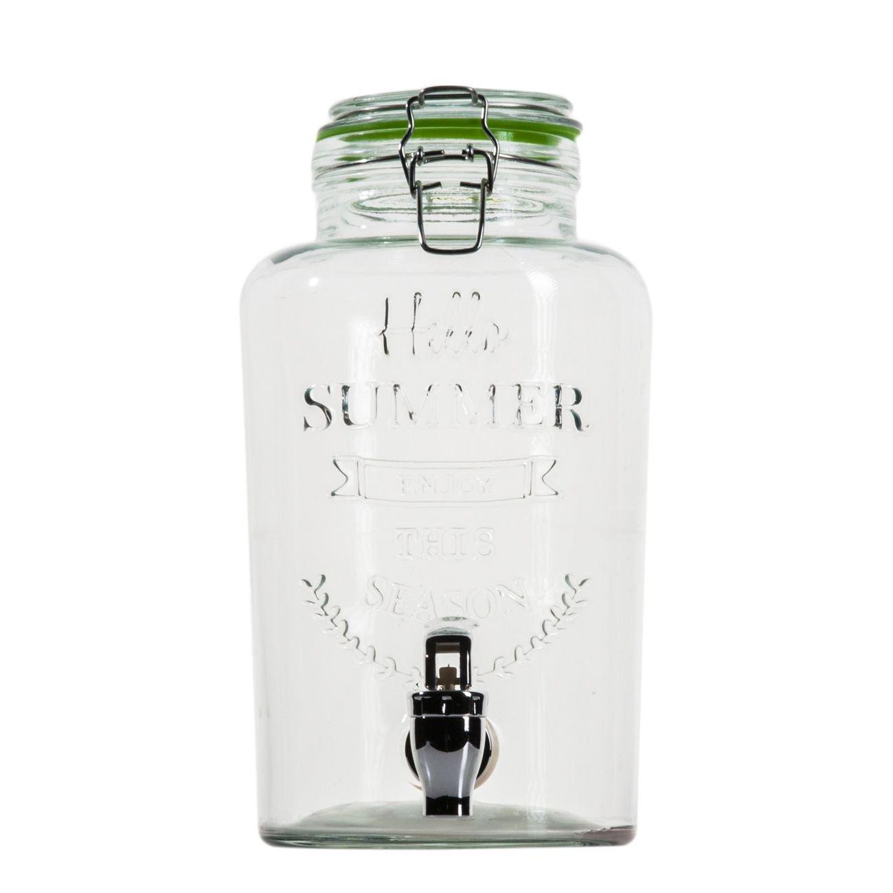Esto24® Hochwertiger Getränkespender Aus Glas Mit Schriftzug 3 Liter Mit  Zapfhahn Und Deckel Product Image