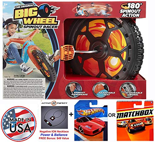 Bundle: The Original Big WheelSpin-Out Racer 16 Trike With Hand Brake & 1 (One) Random Hot Wheels or Matchbox 1:64 Scale Collectible Die Cast Car Model & Active Energy Power Balance Necklace