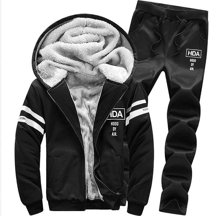 Men/'s Autumn Winter Thicken Sweatshirt Top Coat Pants Sports Tracksuit Sets