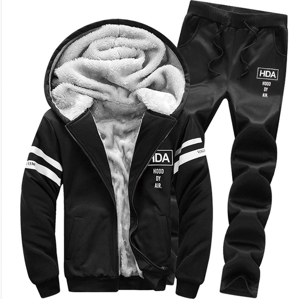 Men's Winter Coat Long Sleeved Zipper Hoodie Fur Lined Thickening Suit Tops + Pants Sets (XL, Black)