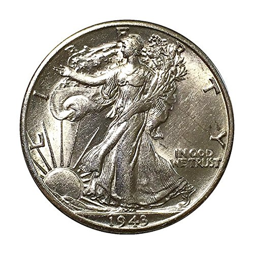 - 1943 Walking Liberty Half Dollar 90% Silver US Coin MS/BU Fifty Cents .50 Half Dollar Choice Brilliant Uncirculated