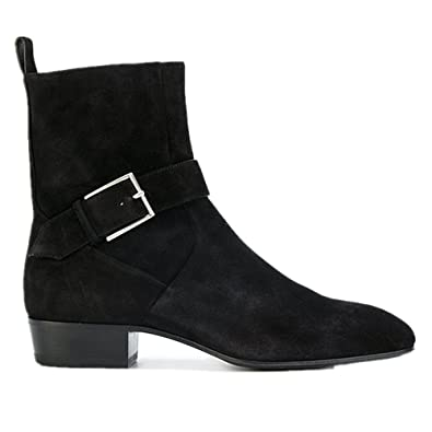 Chelsea Boots Mens Suede Motorcycle Black Dress Boots Ankle Boots Formal Shoes (US 10)