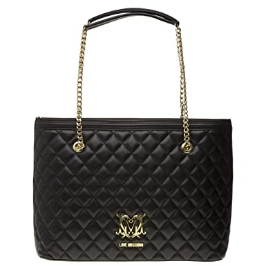 e43bd651e Amazon.com: Love Moschino Quilted Logo Womens Handbag Black: Clothing