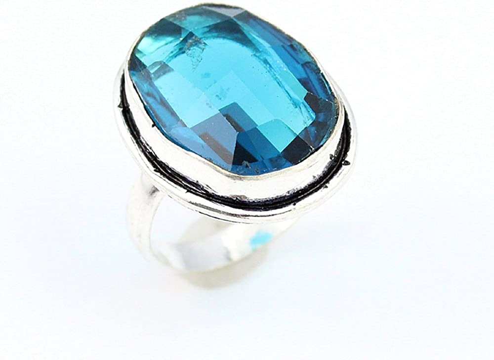 BLUE TOPAZ FASHION JEWELRY .925 SILVER PLATED RING 8 S15745