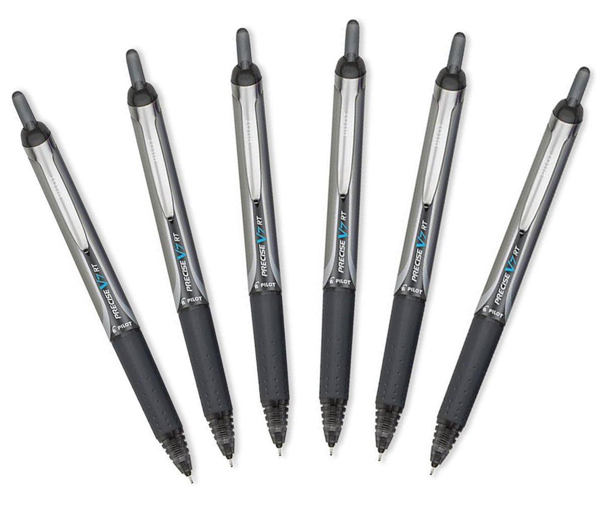 Black Ink 6 Pack Fine Point Pilot Precise V7 RT Retractable Rolling Ball Pens