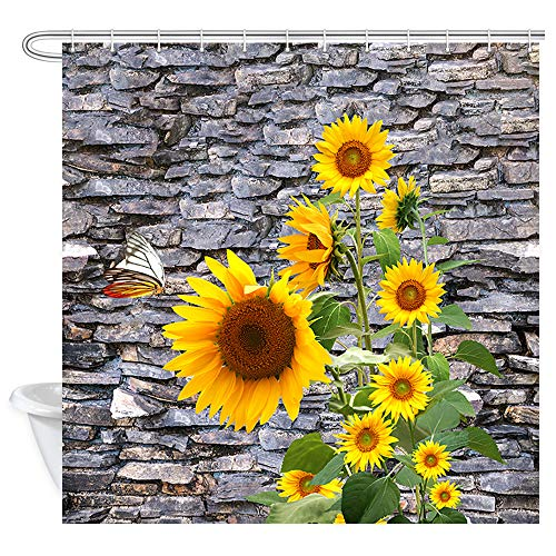 DYNH Spring Flowers Shower Curtain, Sunflower in Front of The Rock Brick Stone Wall of Garden Bath Curtains, Fabric Rustic Floral Shower Curtain for Bathroom Accessories 12PCS Shower Hooks, 69X70 in ()